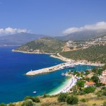 Kalkan: Harbour entrance, beach and town