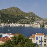Kastellorizo: The harbour with yachts on the quay