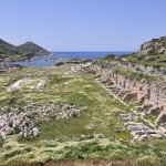 Knidos: Roman ruins, looking north bay towards the lighthouse