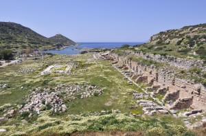 Knidos: Roman ruins, looking across the north bay towards the lighthouse
