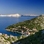 Luka Starigrad: The village with Goli Island in the distance