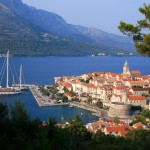Korcula Luka: The walled city hosts a couple of large sailing yachts