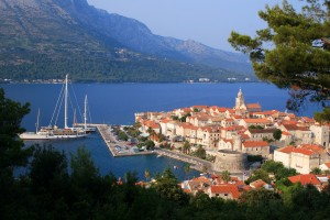 Korcula: The walled city plays host to a couple of large yachts