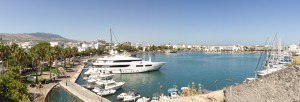 Kos Town: The harbour with large motor yacht berthed