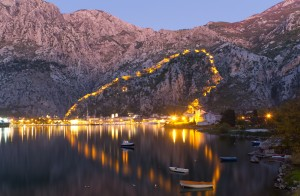 Kotor: The fortress walls illuminated at dusk