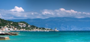 Baska: The harbour entrance with the town behind