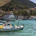 Vasiliki: Trip boats and fishing vessels in a corner of the harbour
