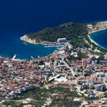 Makarska: Aerial view of the town and bays, showing the harbour and quays
