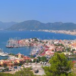 Marmaris: Panoramic view with Netsel Marina and the old town in the foreground