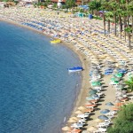 Marmaris: The beach gets packed in high season.