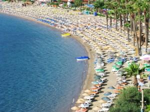 Marmaris: The beach gets packed in high season.