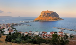 "Monemvasia: View over the old harbour (left), the rock, and the ""marina"" (right)"