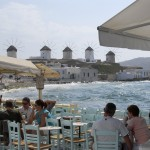 Mykonos: A cafe overlooking the famous windmills