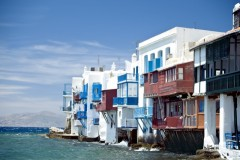 Mykonos: Little Venice (or Little Italy) lies between the old harbour and the windmills