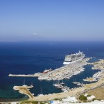 Mykonos: Aerial view of the new marina and cruise ship port