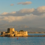 Nafplion: The Venetian Bourtzi Fortress sits at the harbour entrance