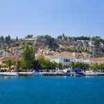 Nafplion: Sailing yachts on the quay, Palamidi Fortress behind