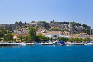Nafplion: Sailing yachts on the quay, Palamidi Fortress behind