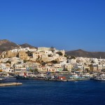 "Naxos: The inner harbour, left and ""marina"" centre, with yachts accompanied by fishing boats!"