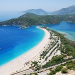 Oludeniz: The beach, lagoon and anchorage. Yachts cannot enter the lagoon.