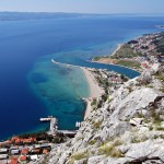 Omis: The small harbour and the quay on the near side of the channel