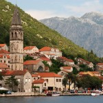 Perast: The village and quay with the prominent church tower