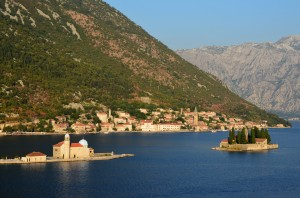 Perast: The islands of Gospa od Skrpjela and St Djordje with the village of Perast behind