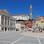 Piran: Tartini's Square in the old town with Sv. Jurij church behind