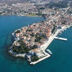Porec: Aerial view of the old town. The marina is just to the right out of shot
