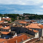 Porec: The marina seen over the roofs of the old town