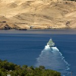 Prizna: The ferry to Pag has made the anchorage an unattractive proposition
