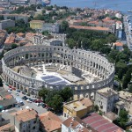 Pula: The marina couldn't be much closer to the amphitheatre