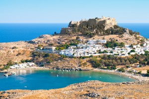 Lindos: The north bay, town and castle