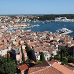 Rovinj: The old town, harbour, marina and just visible far right, the anchorage.