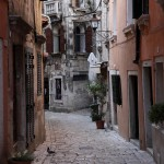 Rovinj: A cobbled street in the old town