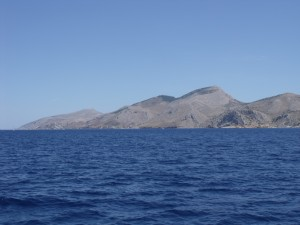 Hydra: The Island from the north west. The town is hard to sport until close in.