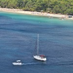 Skiathos: Kanapitsa, one of the many great beaches. Not a recommended anchorage but it has been done!