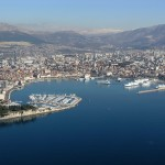 Split: Aerial view of the harbour showing the marina, the town and the ferry port