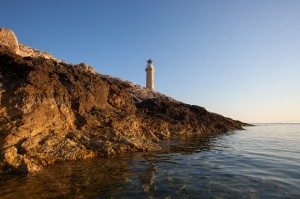Stoncica: The lighthouse provides a clear landmark showing the entrance to the bay