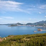 Sveti Stefan: The island resort with Budva in the background