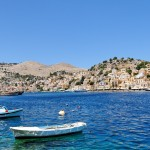 Symi Town: the pretty town is ringed by hills. This shot makes it look bigger than it is