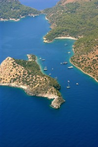 Gemiler: Aerial view of the island and the mainland