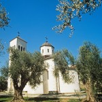 Ulcinj: St Nikola church sits amongst the trees. Not that old, but a nice spot.