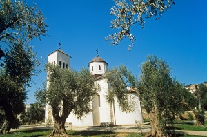 Ulcinj: St Nikola church sits amongst the trees. Not that old, but a nice spot.