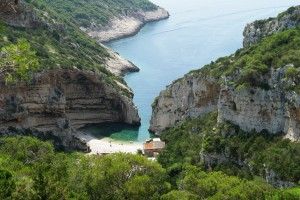 Stiniva: The tiny beach inside the cove, with the larger bay outside