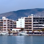Volos: Panorama, the yacht quay from the sea