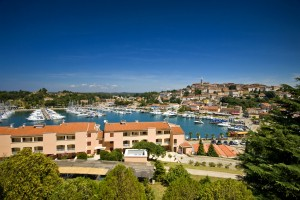 Vrsar: Looking across the marina developments to the old town