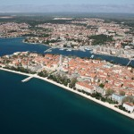 Zadar: Aerial view with Zadar Marina centre, and Vitrenjak Marina far left