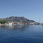 Plaka: The village seen through the harbour entrance