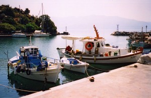 Vathi: Fishing quay with harbour entrance behind